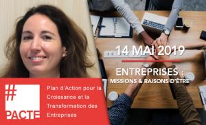 """Virginie Coll à l'événement """"Entreprises : Missions et Raisons d'être"""" le 14 mai 2019"""